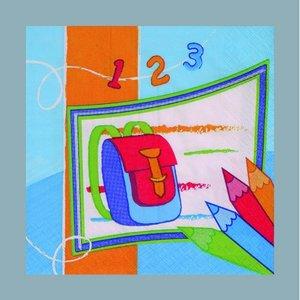 Servett - 3 lager 33 x 33 cm - blå flera färger 20-pack Skolstart