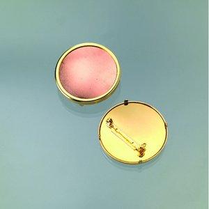 Brosch för emaljering 36 mm - guldpläterad rund