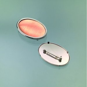 Brosch för emaljering 45 x 30 mm - silverfärga oval