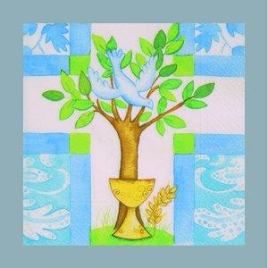 Servett - 3 lager 33 x 33 cm - vit blå 20-pack Kristen festival