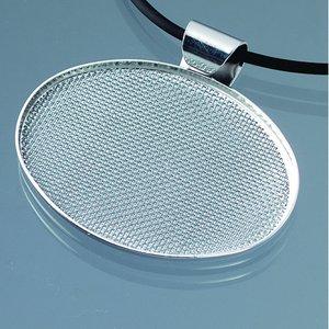 Hängsmycke med sil 48 x 37 mm - silverpläterad oval