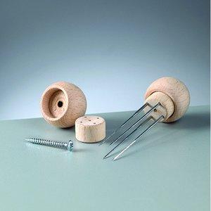 Trähandtag för 1 filtnål - 20-pack - 3 omonterade delar