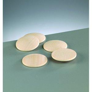 Knappform i trä 40 mm - 50-pack - blekt runda