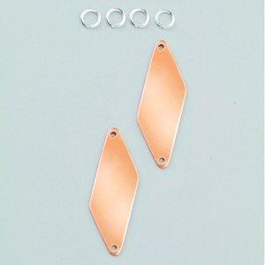 Hängsmycke 47 x 16 mm - 2-pack rhomber 2-hål