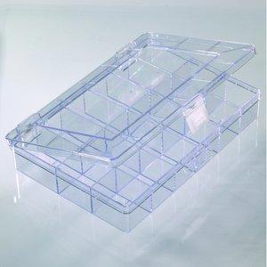 Plastbox 25 x 15 cm - klar transparent 18 sektioner