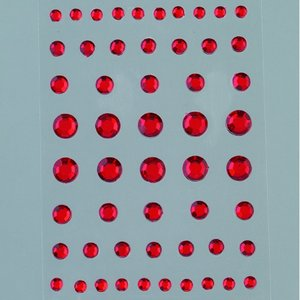 Strass akryl självhäftande 4 5 6 8 mm - röda 54-pack Rund