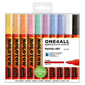 Akrylmarker One4All 4mm 10 Pennor - Pastel
