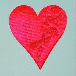 Hjärta satin lösa 52 mm - 50-pack - röd