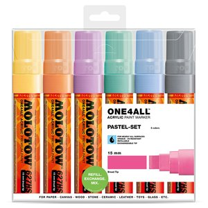 Akrylmarker One4All 15 mm 6 Pennor - Pastel