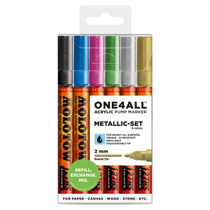 Akrylmarker One4All 2mm 6 Pennor - Metallic