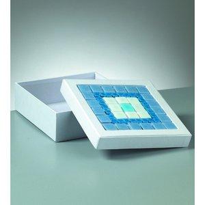 Ask mosaik 17 x 17 x 6 cm - vit kvadrat