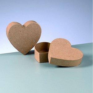 Ask platt mini 10 x 10 x 3 cm - hjärta