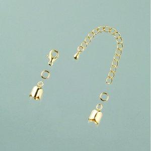 Avslutningsdel tulpan 6 mm - guldpläterade 1 par med kedja