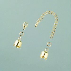 Avslutningsdel tulpan 8 mm - guldpläterade 1 par med kedja