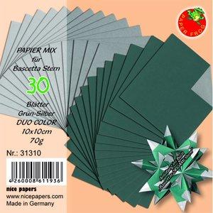 Bascetta stjärnpapper DUO 10 x 10 cm - grön - silver 30 st. / 70 g / m²