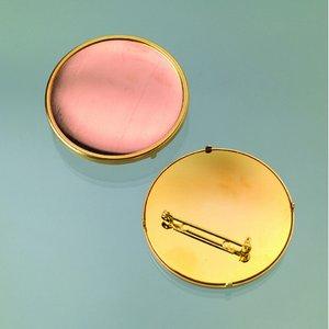 Brosch för emaljering 49 mm - guldpläterad rund