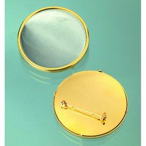 Brosch ø 49 mm - guldpläterad rund