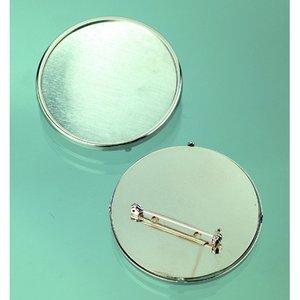 Brosch ø 49 mm - silverfärgad rund