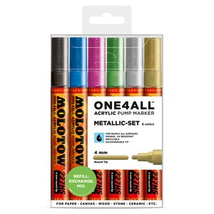 Akrylmarker One4All 4mm 6 Pennor - Metallic