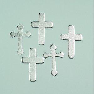 Dekor trä 36 x 24 / 35 x 23 mm - silver 24 st. Kors blandade