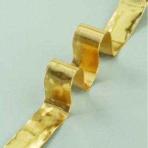 Dekorband ståltrådskant guld 40 mm - 25 meter - guld