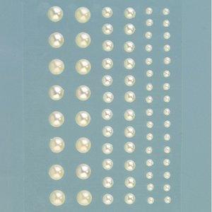 Halvpärlor akryl självhäftande 3 5 7 mm - grädde pärla 72-pack rund
