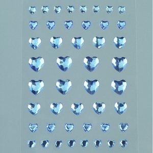 Strass akryl självhäftande 4 6 8 10 mm - ljusblå 46-pack Hjärta