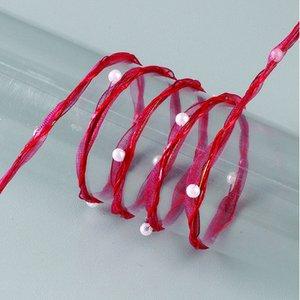 Garneringsband ståltrådsförstärkt organza pärlor 8 mm - 20 meter - bordeaux