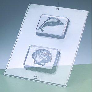 Gjutform för tvål - delfin + skal / 2 delar