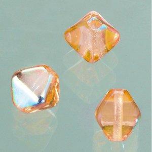 Glaspärla dubbelkon 6 mm - brun AB 50 st.