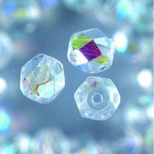 Glaspärlor facetterade - klar - runda