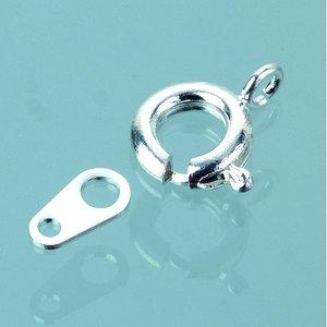 Halsbandslås fjädermodell 7 mm - försilvrad 50 st.