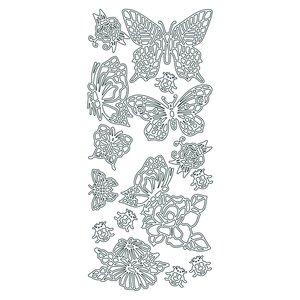 Hobbysticker 10 x 23 cm - guld Fjärilar