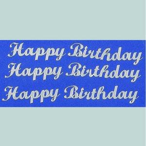 Hobbysticker 10 x 23 cm - silver Happy Birthday