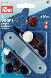 Jeansknappar mässing antik koppar Lagerkrans 17 mm 8 st
