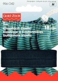 Knapphålsresår vävd elastisk 18 mm svart 1 m