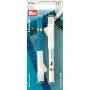 Markeringspennor med borste vit/blå 2 st