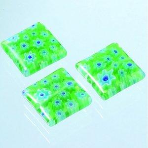 Millefioripärlor 14x14xT4mm - grön 3 st. kvadratiska platt
