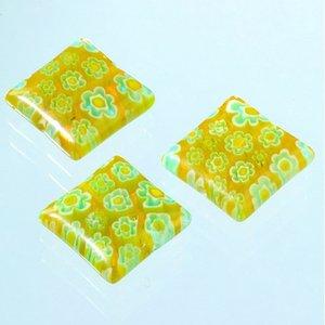 Millefioripärlor 14x14xT4mm - gul 3 st. kvadratiska platt