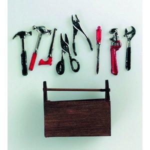 Miniatyr 5 x 4 cm - 9 delar Verktygslåda med verktyg