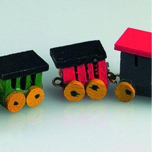 Miniatyr 8 cm - 4 delar Trätåg