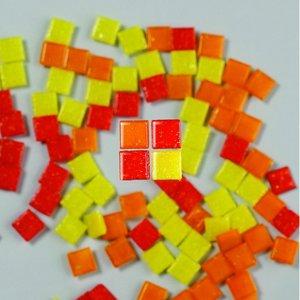 MosaixPro - glasmosaik 10 x 10 mm - röd-mix 200 g ~ 302 st.