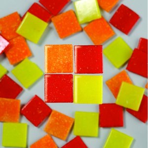 MosaixPro - glasmosaik 20 x 20 mm - röd-mix 1.000 g ~ 360 st.