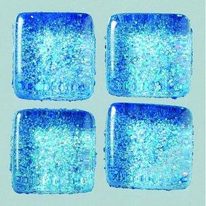 MosaixPro-glasmosaik Glitter 10 x 10 x - blå 200 g ~ 215 st.