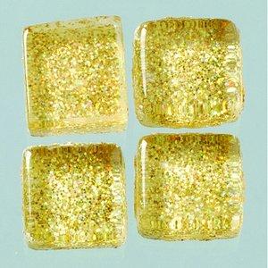MosaixPro-glasmosaik Glitter 10 x 10 x - guld 200 g ~ 215 st.