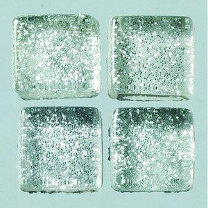 MosaixPro-glasmosaik Glitter 10 x 10 x - silver 200 g ~ 215 st.