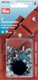 Nitar 6-9 mm tjocka mässing silverfärg 8 st