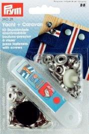 Nittryckknapp YACHT&CA mässing silverfärg fastskruvas 15 10 st
