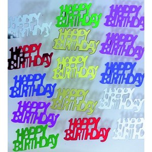 Paljetter 15 x 30 mm - blandade färger 20 g Happy Birthday