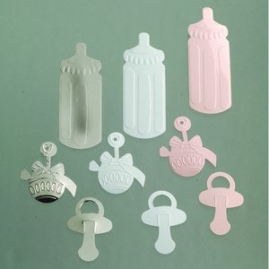 Paljetter 25 - 45 mm - rosa silver vit blandade 20 g Baby mix